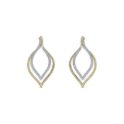 14k Yellow/White Gold Intricate Layered Diamond Hoop Earrings angle 3