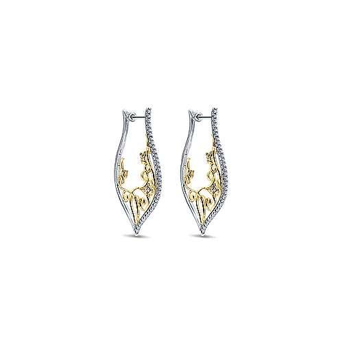 14k Yellow/White Gold Intricate Scrollwork Diamond Hoop Earrings