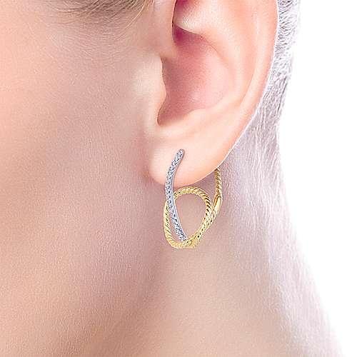 14k Yellow/White Gold Intricate Twisted Diamond Hoop Earrings angle 2