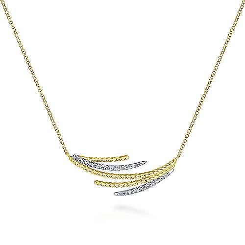 14k Yellow/White Gold Layered Diamond Bar Necklace