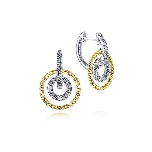 14k Yellow/White Gold Layered Loop Diamond Huggie Drop Earrings