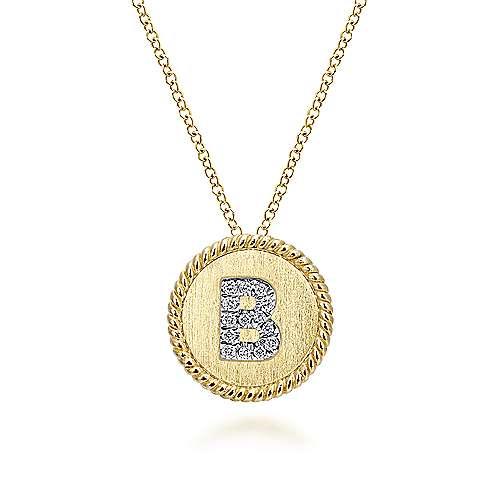 14k Yellow/White Gold Round Uppercase B Diamond Initial Necklace