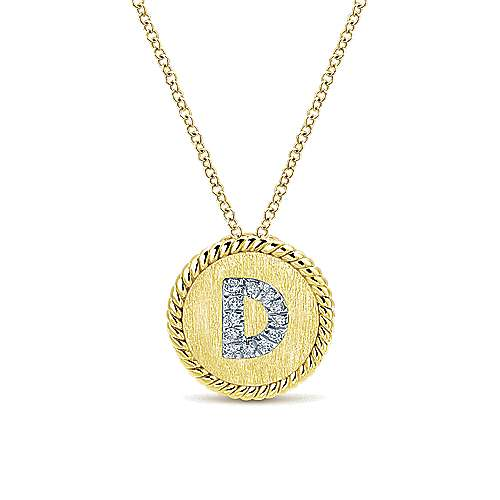 14k Yellow/White Gold Round Uppercase D Diamond Initial Necklace