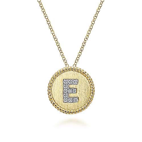 14k Yellow/White Gold Round Uppercase E Diamond Initial Necklace