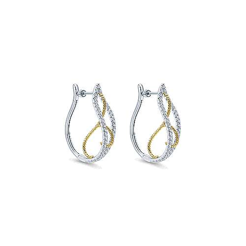 14k Yellow/White Gold Split Shank Intricate Diamond Hoop Earrings