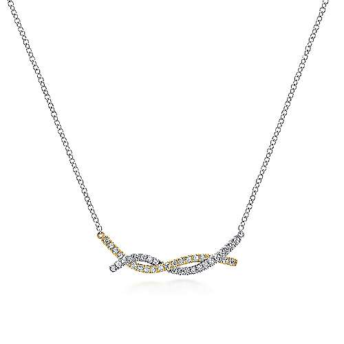 Gabriel - 14k Yellow/White Gold Twisted Diamond Bar Necklace