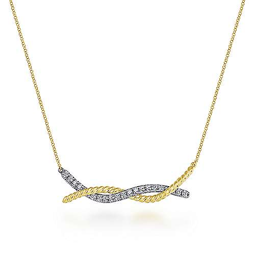 Gabriel - 14k Yellow/White Gold Twisted Pave Diamond Bar Necklace