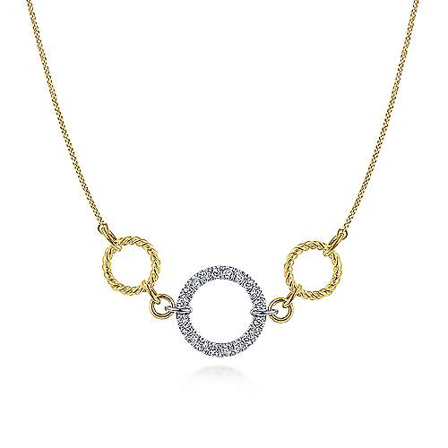 14k Yellow/White Gold Twisted Pave Diamond Loop Fashion Necklace