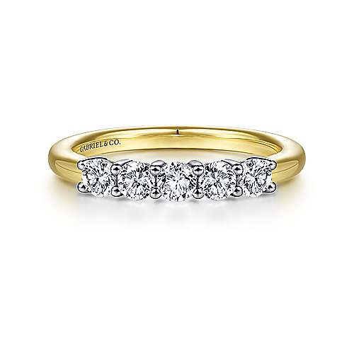 Gabriel - 14k Yellow and White Gold 5 Stone Band