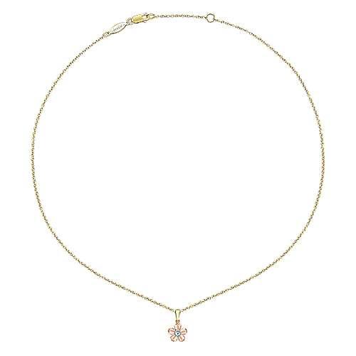 14k Yellow/pink Gold Diamond Fashion Necklace angle 2