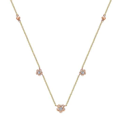 14k Yellow/pink Gold Diamond Fashion
