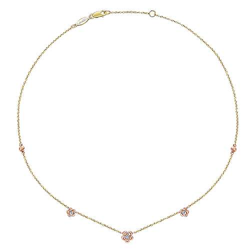 14k Yellow/pink Gold Diamond Fashion Necklace angle 2
