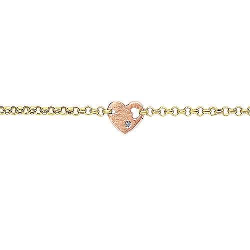 14k Yellow/pink Gold Diamond Heart Bracelet angle 2