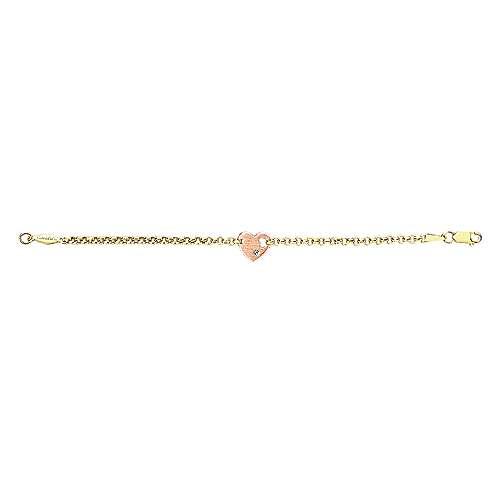 14k Yellow/pink Gold Diamond Heart Bracelet angle 3