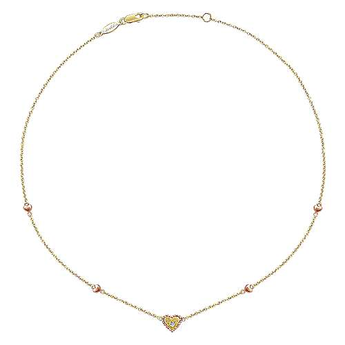 14k Yellow/pink Gold Diamond Heart Necklace angle 2