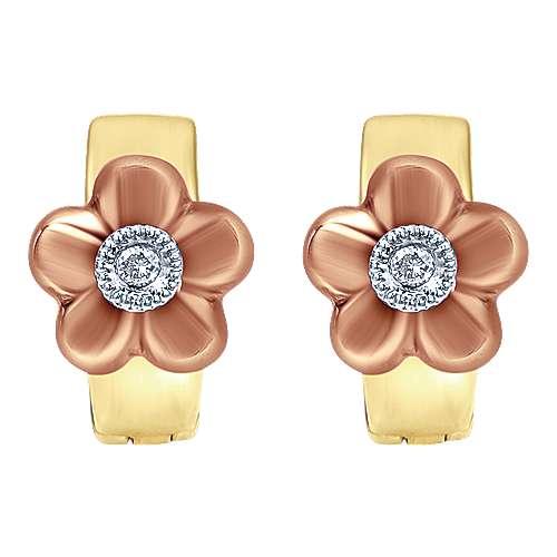 Gabriel - 14k Yellow/pink Gold Secret Garden Huggie Earrings
