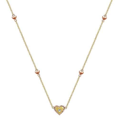 Gabriel - 14k Yellow/pink Gold Secret Garden Heart Necklace