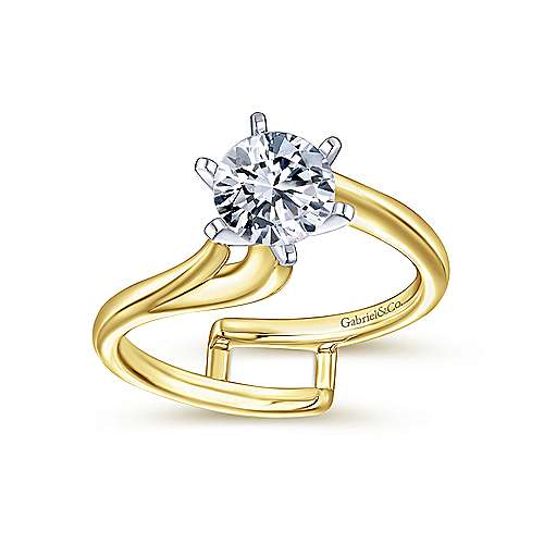 14k Yellow/white Gold Bypass Engagement Ring angle 4