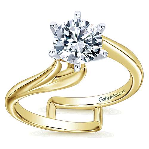 14k Yellow/white Gold Bypass Engagement Ring angle 5