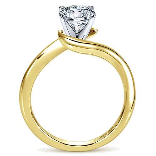 14k Yellow/white Gold Bypass Engagement Ring angle 2