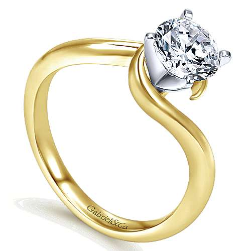 14k Yellow/white Gold Bypass Engagement Ring angle 3