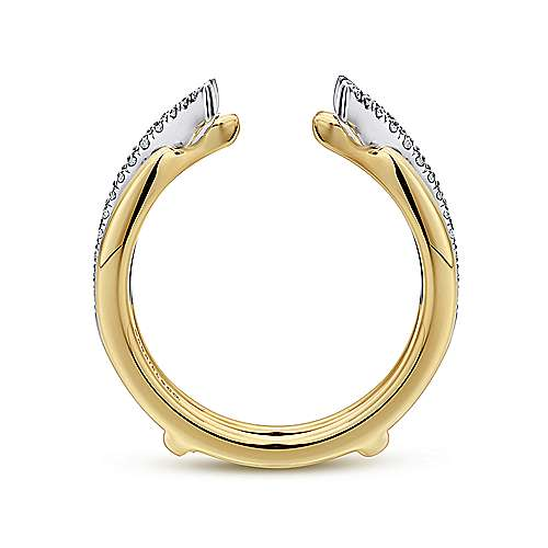 14k Yellow/white Gold Contemporary Jacket Anniversary Band angle 2