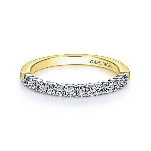 Gabriel - 14k Yellow/white Gold Contemporary Straight Wedding Band