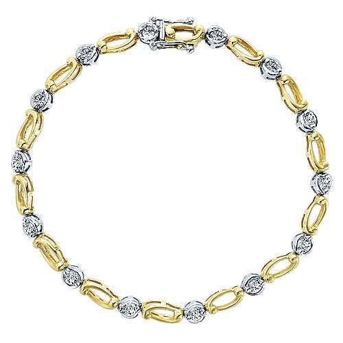 Gabriel - 14k Yellow/white Gold Contemporary Tennis Bracelet