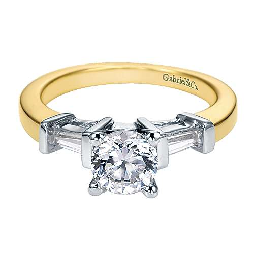 Gabriel - 14k Yellow/white Gold Round 3 Stones Engagement Ring