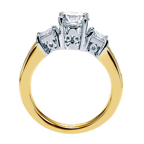 14k Yellow/white Gold Diamond 3 Stones Engagement Ring angle 2