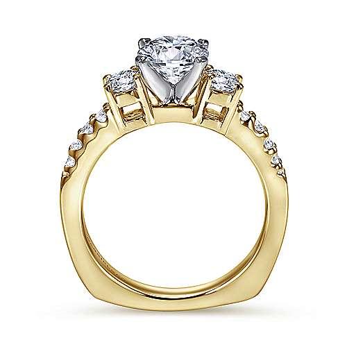 14k Yellow/white Gold Diamond 3 Stones Engagement Ring angle 2
