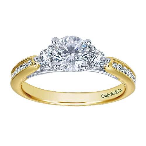 14k Yellow/white Gold Diamond 3 Stones Engagement Ring angle 4