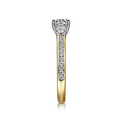 14k Yellow/white Gold Diamond 3 Stones Engagement Ring angle 5