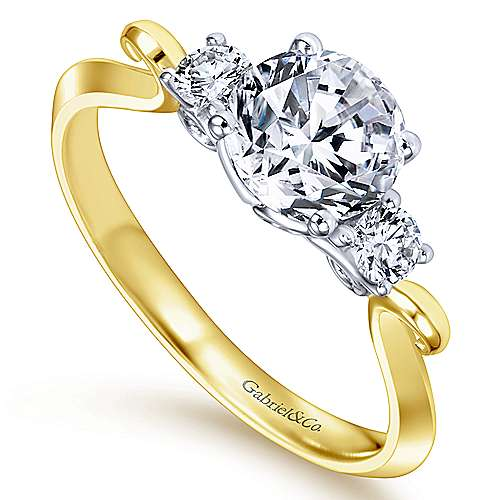 14k Yellow/white Gold Diamond 3 Stones Engagement Ring angle 3