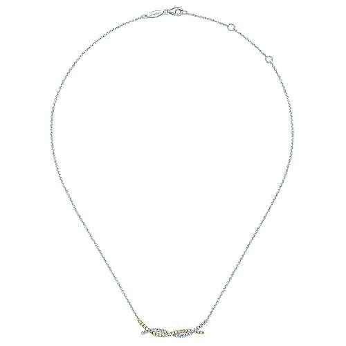 14k Yellow/white Gold Diamond Bar Necklace angle 2