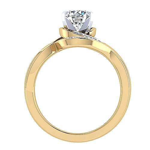 14k Yellow/white Gold Diamond Bypass Engagement Ring angle 2