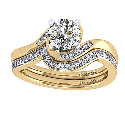 14k Yellow/white Gold Diamond Bypass Engagement Ring angle 4