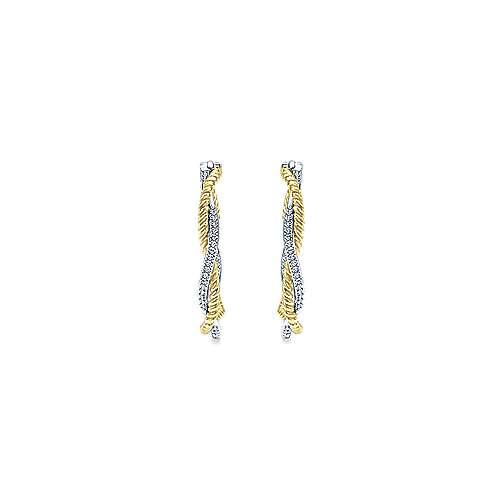 14k Yellow/white Gold Diamond Classic Hoop Earrings angle 3