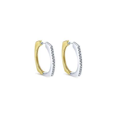 14k Yellow/white Gold Diamond Classic Hoop