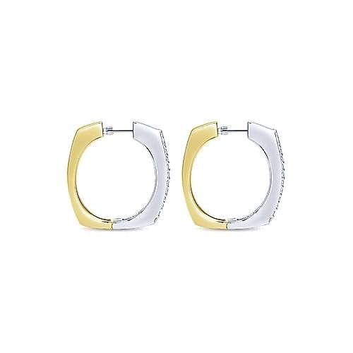 14k Yellow/white Gold Diamond Classic Hoop Earrings angle 2