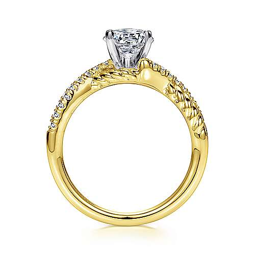 14k Yellow/white Gold Diamond Criss Cross Engagement Ring angle 2