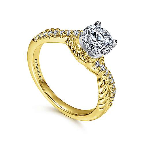 14k Yellow/white Gold Diamond Criss Cross Engagement Ring angle 3