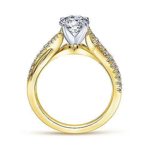 14k Yellow/white Gold Diamond Criss Cross Engagement Ring angle 2