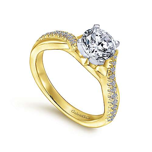 14k Yellow/white Gold Diamond Criss Cross Engagement Ring angle 3