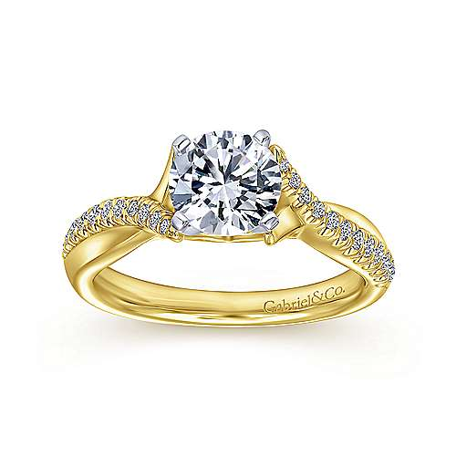 14k Yellow/white Gold Diamond Criss Cross Engagement Ring angle 5
