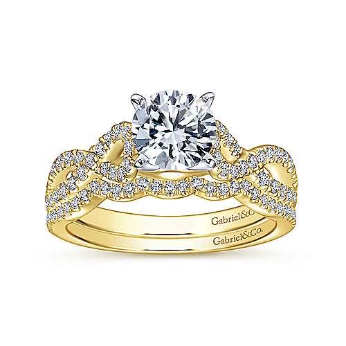 14k Yellow/white Gold Diamond Criss Cross Engagement Ring angle 4