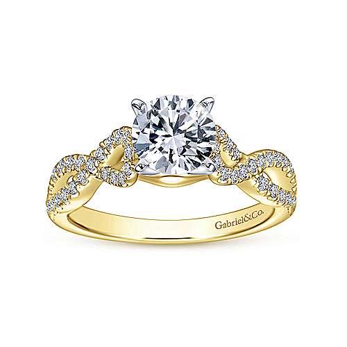 14k Yellow/white Gold Diamond Criss Cross Engagement Ring angle 5