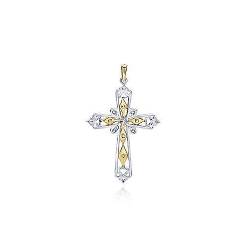 14k Yellow/white Gold Diamond Cross Cross Pendant angle 2