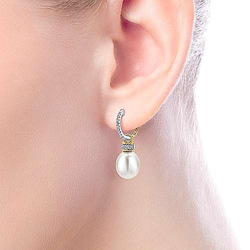 14k Yellow/white Gold Diamond Cultured Pearl Drop Earrings angle 2