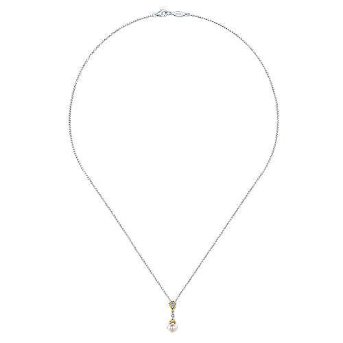 14k Yellow/white Gold Diamond Cultured Pearl Fashion Necklace angle 2